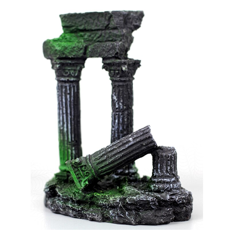 Columna romana Artificial Grecia templo ruinas acuario decoración edificio romano acuático adornos piedra para tanque de peces Decoración