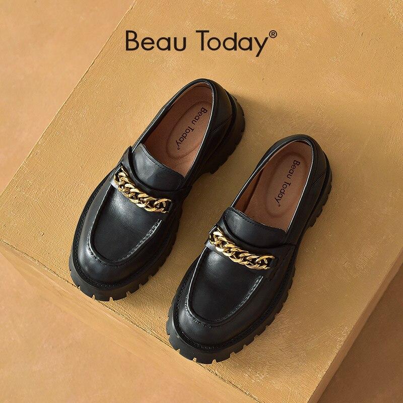 BeauToday منصة المتسكعون النساء جلد البقر الحقيقي جولة تو عادية الشقق سلسلة معدنية الانزلاق على أحذية نسائية اليدوية 27756