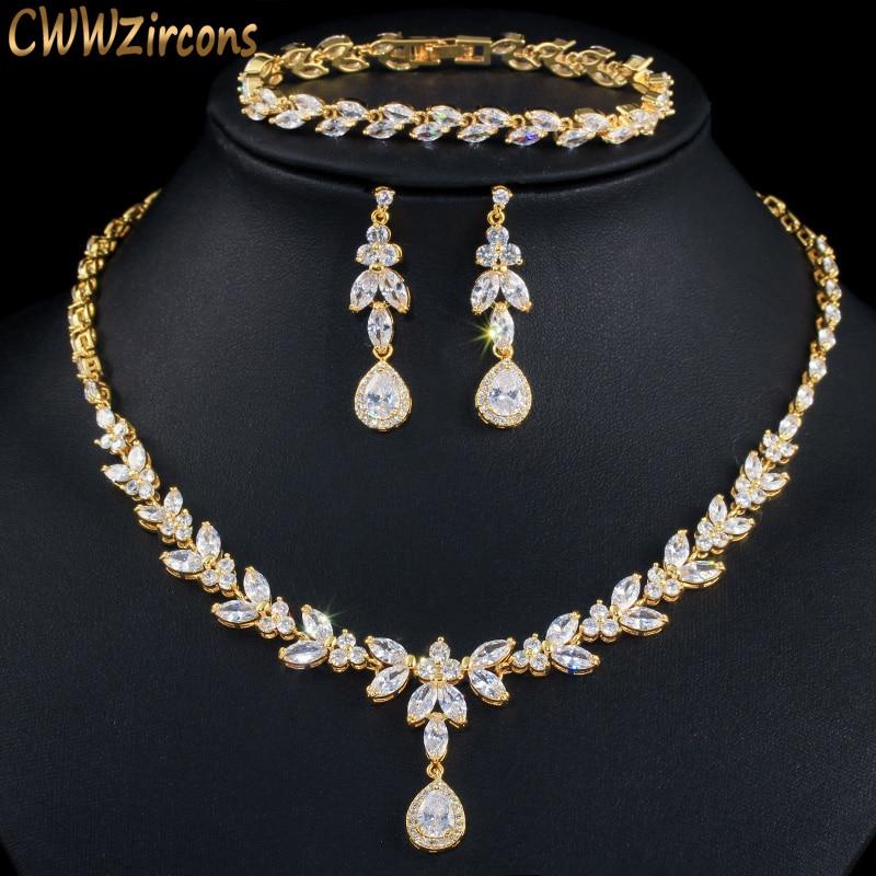 CWWZircons 3 قطعة حلي النساء كبيرة الذهب مجموعة مجوهرات لامعة زركون قطرة دبي العرائس Necklcae أقراط و أساور T370
