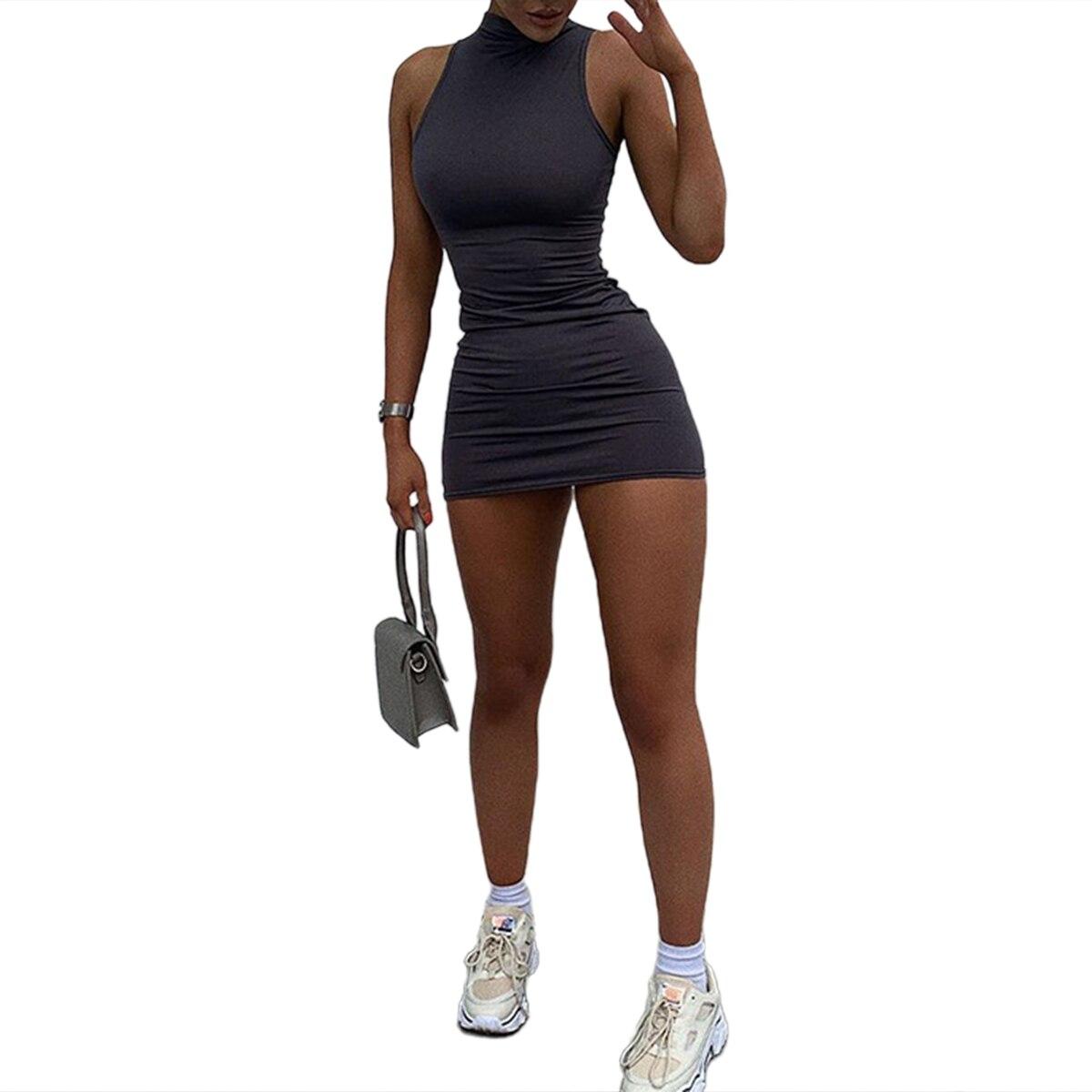 فستان نسائي متوسط الطول مطوي ، ملابس غير رسمية ضيقة برقبة دائرية بدون أكمام ، لون عادي