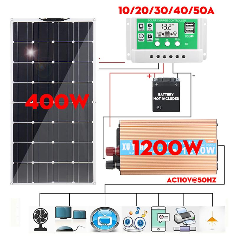 400W Solar Power System Solar Panel Battery Charger 1200W Inverter USB Kit Complete Controller 10/20/30/40/50A Car RV Charger