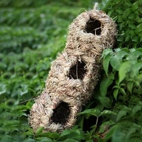 hanging hand woven nest aviary with 3 holes bird house hut natural grass egg cage outdoor garden decorative