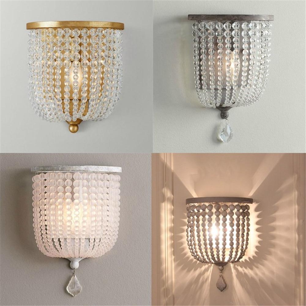 مصباح جداري كريستالي أمريكي ، مصباح حائط ريفي قديم مع خرز خشبي ، مصباح أمامي لمرآة الممر ، إضاءة منزلية