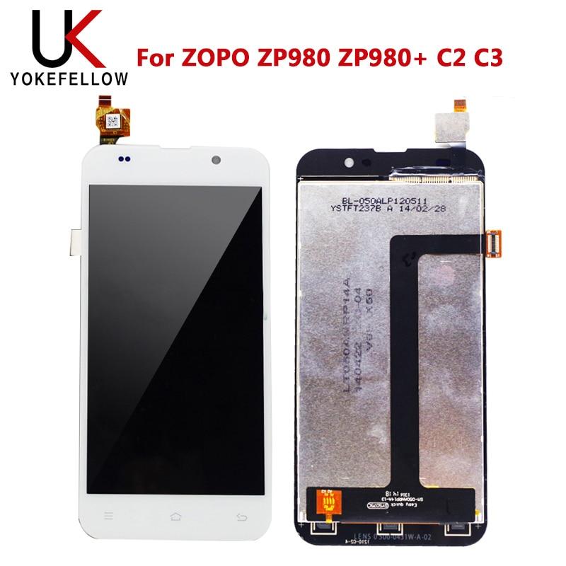 Display lcd para zopo zp980 zp980 + c2 c3 display lcd digitador da tela com toque de montagem completa