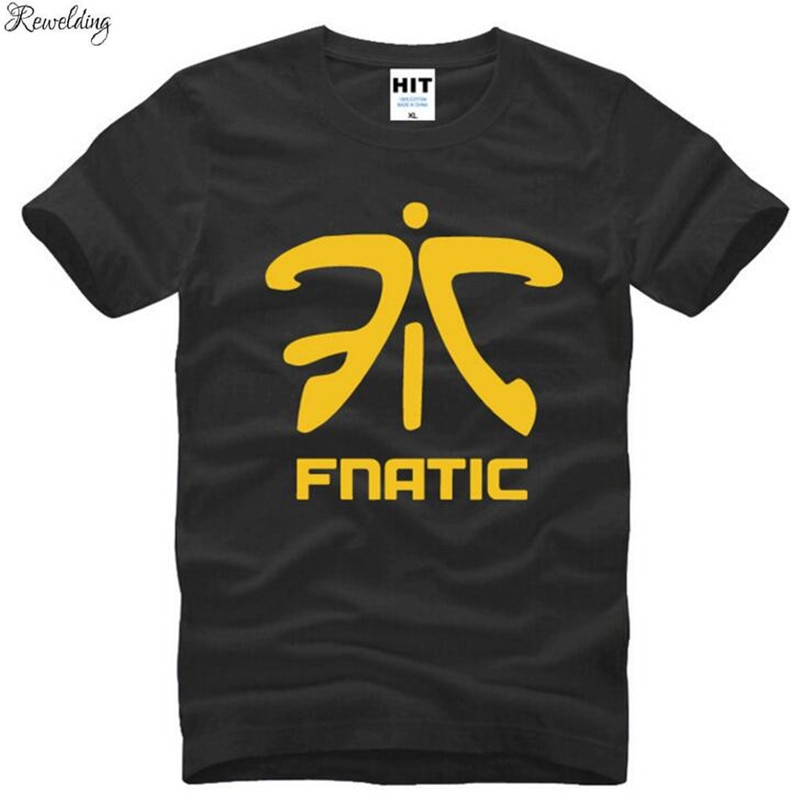 Juego LOL Fnatic equipo LOGO Camisetas hombres manga corta cuello redondo algodón Hombre Camiseta Cool Fitness Tee Shirt Homme Camisetas Hombre