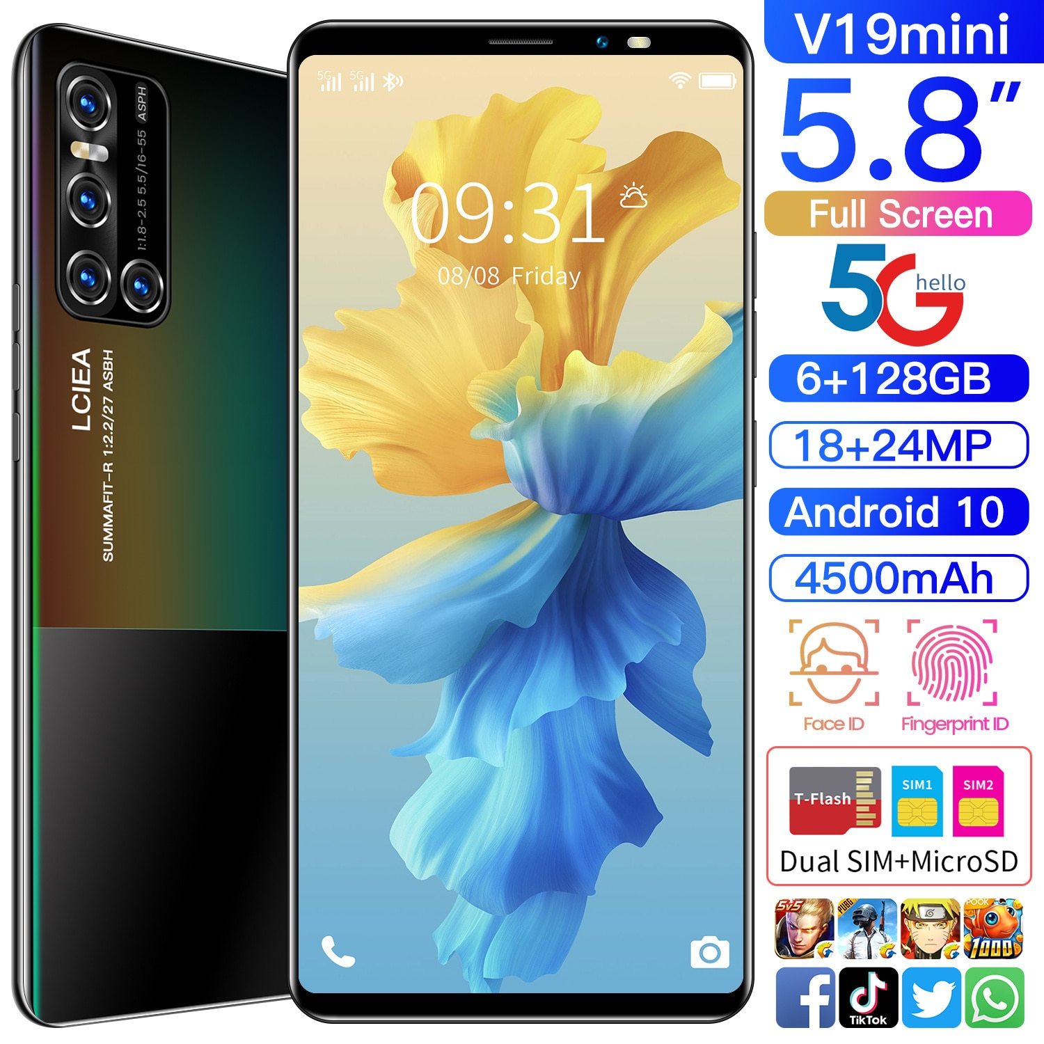 V19 mini 5.8 Inch Global Version  18+24MP Andriod Sm Artphones 6GB RAM 128GB ROM 10 Core MTK6889 Dua