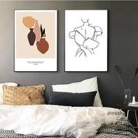 Affiches de mode avec ligne geometrique abstraite  peinture sur toile nature morte  images dart murales modernes pour decoration de la maison de la chambre a coucher