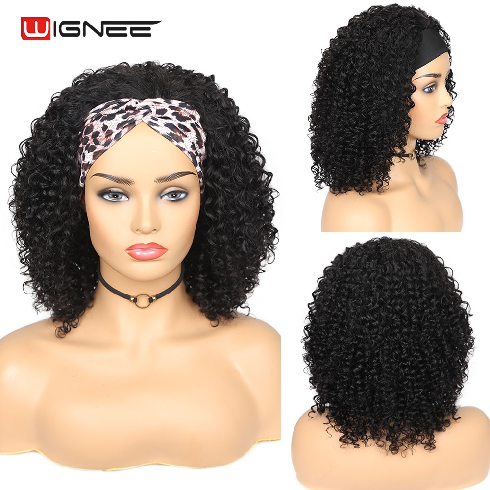 Wignee Curly Wig HeadBand Wig Human Hair Brazilian Kinky Curly Wig Glueless Full Machine Wig For Black Women Jerry Curl Wig