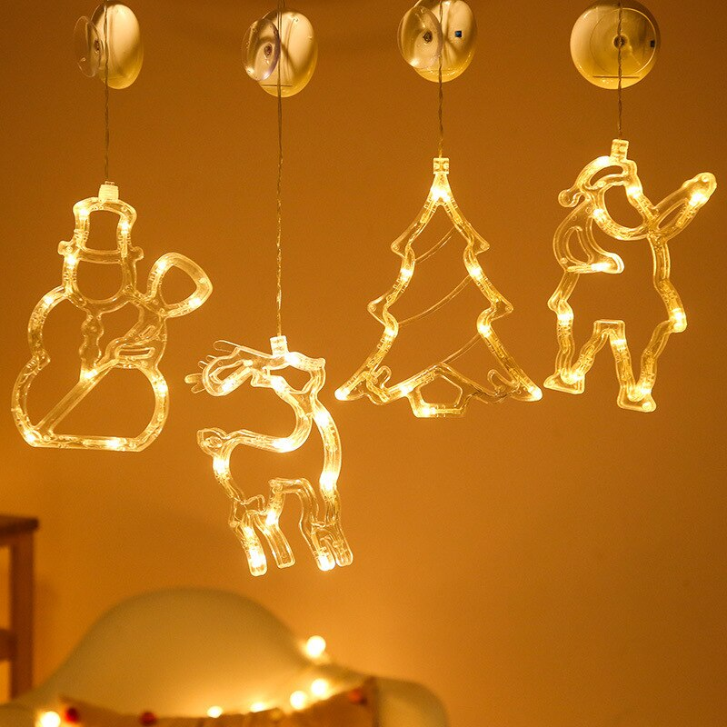 Christmas Tree Decoration Led Lights Decoration for Wall Christmas Lights Indoor Hanging Lamps Santa Claus Led String Decor недорого