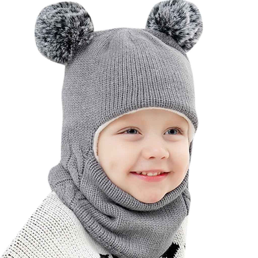 Autumn Winter Children Hats Pom Pom Ball Hat Kids Beanies Cap Girls Boys Warm Wool Hooded Hat Baby Scarves Toddler Caps