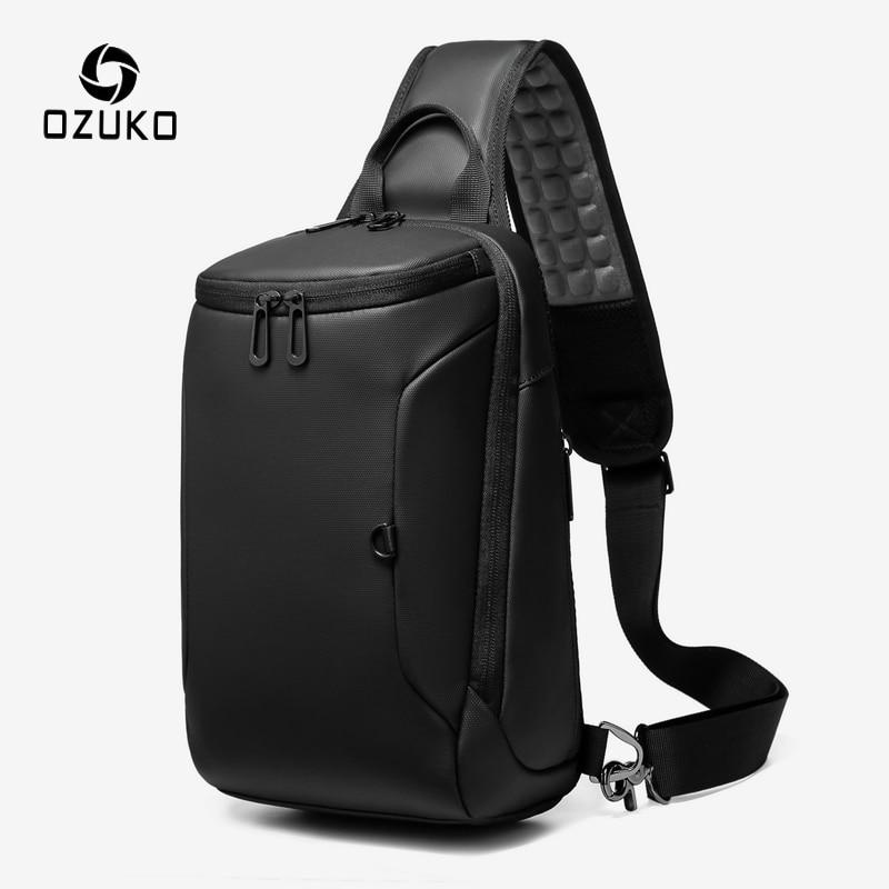 OZUKO, bolso de hombro con carga USB para hombre, bandolera cruzada informal impermeable, paquete de pecho para iPad de 9,7 pulgadas, bolsas de viaje cortas para hombre