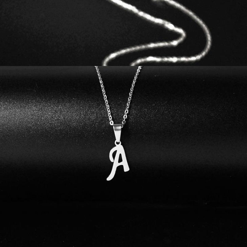 New Initial A-Z Letters Pendant Necklace for Women Men Trendy Stainless Steel Link Sweater Chain Necklaces Jewelry Gift
