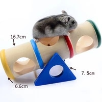 hot sales wooden hamster pet seesaw barrel tube tunnel cage house hide play climing toy