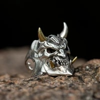 new skull prajna sterling silver ring fashion trendy men retro personalized opening forefinger ring special ornament
