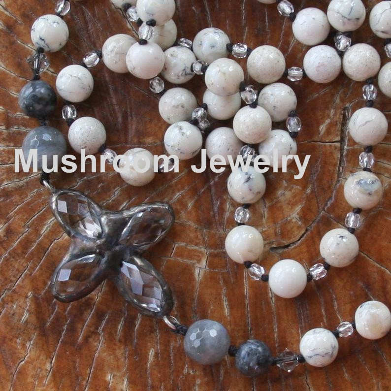 Hand Knot Howlite Stone bead Cross Pendant For Necklace Bohemian Necklace