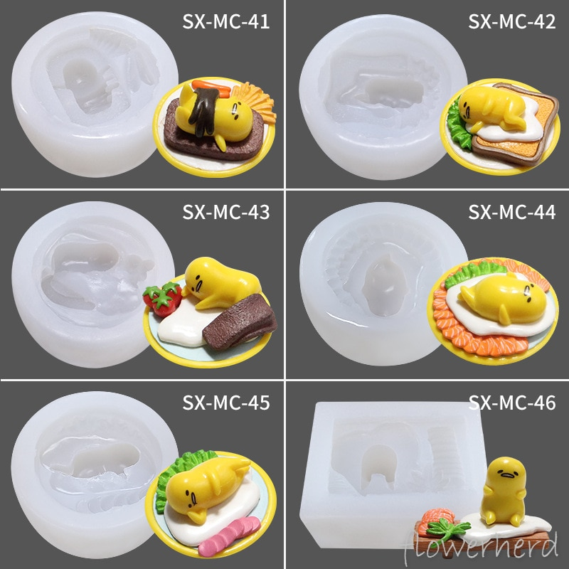 Kawaii Gudetuma huevo vago yema huevo moldes de silicona para pasteles jabón hecho a mano dibujos animados yeso molde aromático Chocolate Gumpaste Fondant moldes