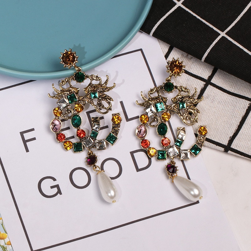 2021 New Fashion Jewelry Retro Necklace Women's Big Name Women Exaggerated Bronze Earrings for Women  Korean Earrings Wholesale