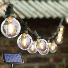 DCOO G40 Globe Solar String luces con 10/25 bombillas LED claras Vintage Patio trasero luces colgantes interior/exterior luces