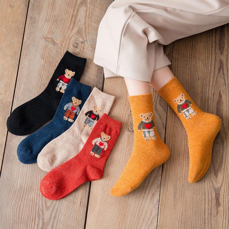 Autumn and Winter Warm Wool Woman Socks Japanese Cute Cartoon Bear Women Harajuku Kawaii