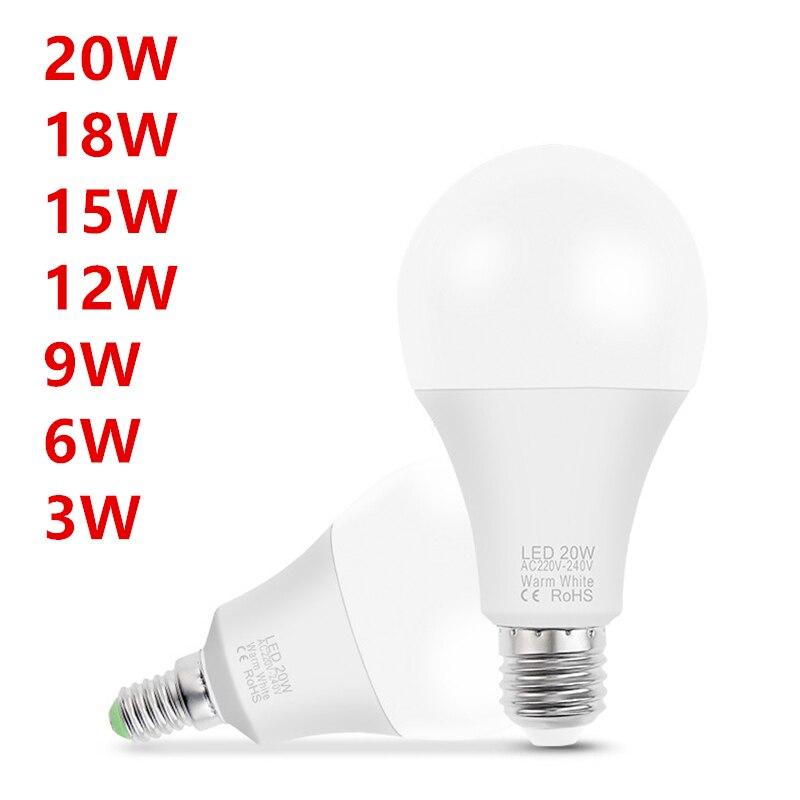10 pçs conduziu a lâmpada e14 e27 ac 220v conduziu a luz do bulbo conduziu a lâmpada de mesa spotlight 3w 6 9 12 15 18 20