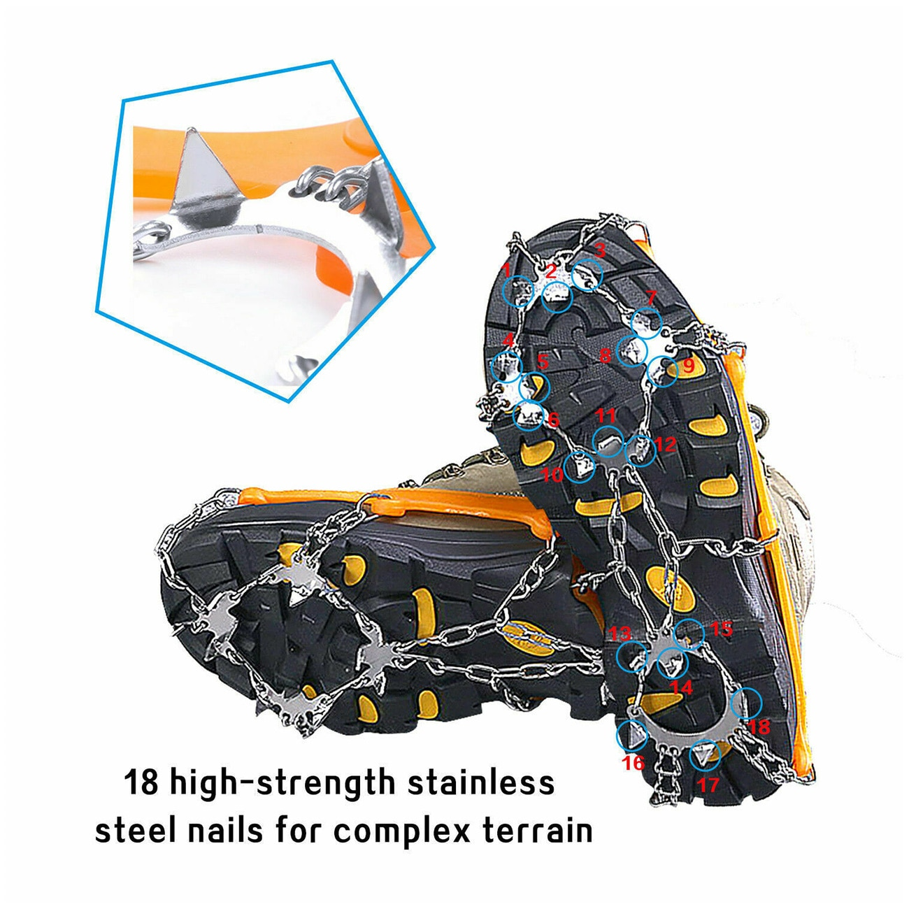18 Teeth Ice Snow Crampons Anti-Slip Climbing Gripper Shoe Covers Spike Cleats Climbing Hiking Women Men Boots Shoe Covers