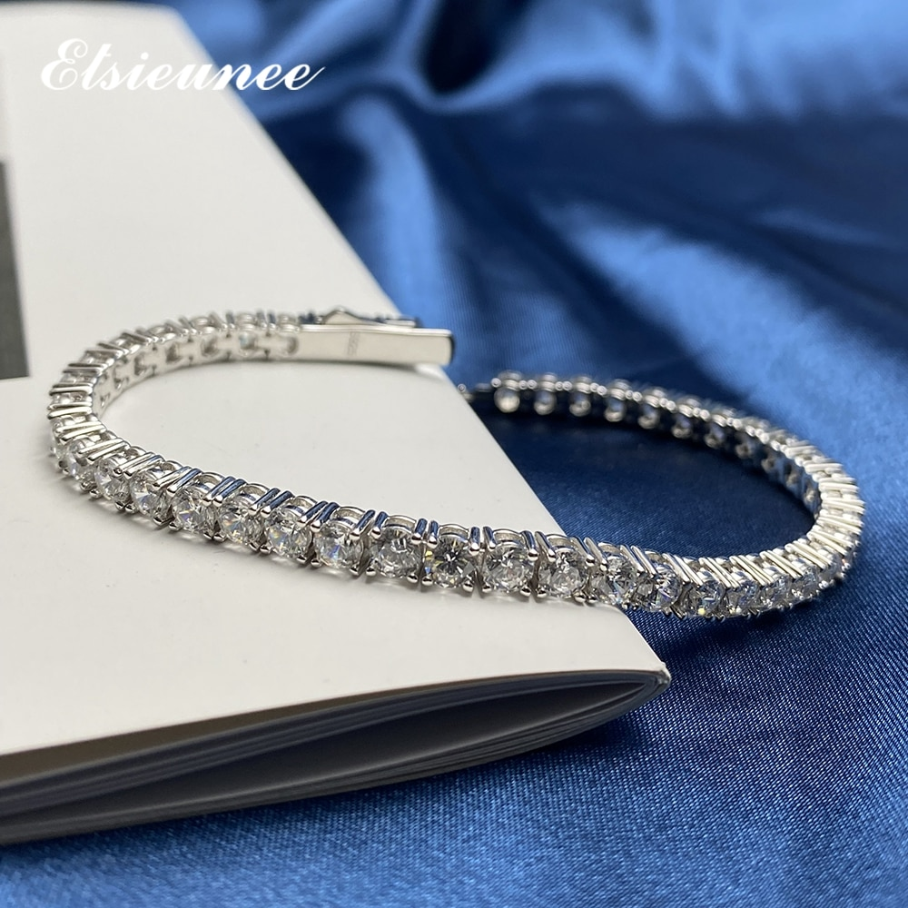 ELSIEUNEE 100% Real 925 Sterling Silver Simulated Moissanite Diamonds Tennis Bracelets For Women Men Wedding Bangle Fine Jewelry