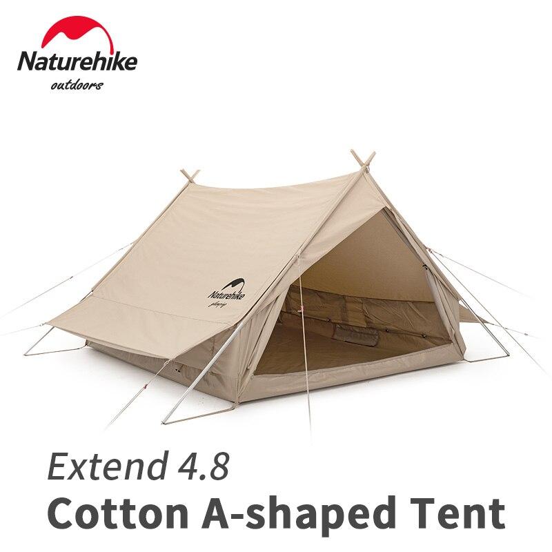Naturehike في 4.8 ㎡ القطن سلسلة على شكل خيمة 2 شخص في الهواء الطلق السفر مع الشمس المأوى مزدوجة طبقة المعطف الطنف خيمة التخييم