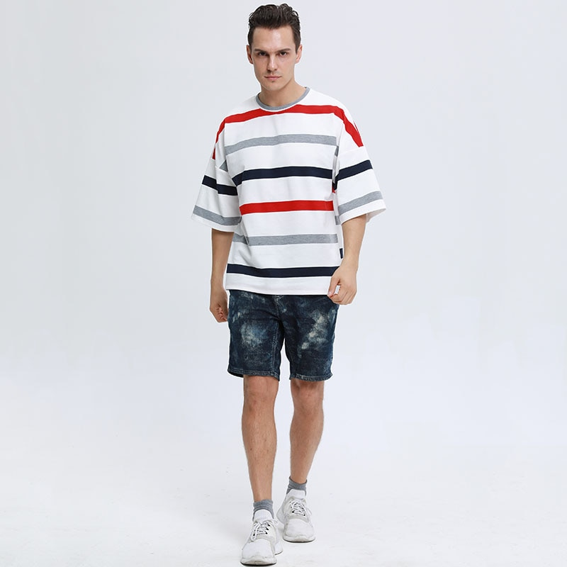 England Style Summer Striped Men T-shirt 2021 Plus Size Casual T-shirt Oversized Loose Sports Short-sleeve Tees Top Dropshipping