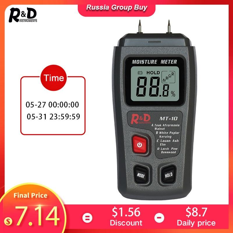 Medidor de humedad de madera MT-10 R & D EMT01, higrómetro, Detector de humedad de madera, medidor Digital de densidad de árbol gris