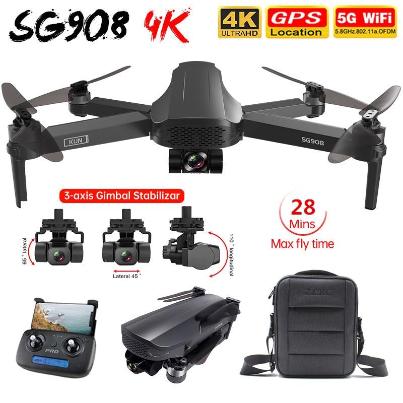 SG908 الطائرة بدون طيار 4K لتحديد المواقع المهنية 3-محور Gimbal EIS 5G واي فاي FPV RC هليكوبتر 1.2 كجم 50X طوي بدون فرشاة كوادكوبتر PK SG906 برو