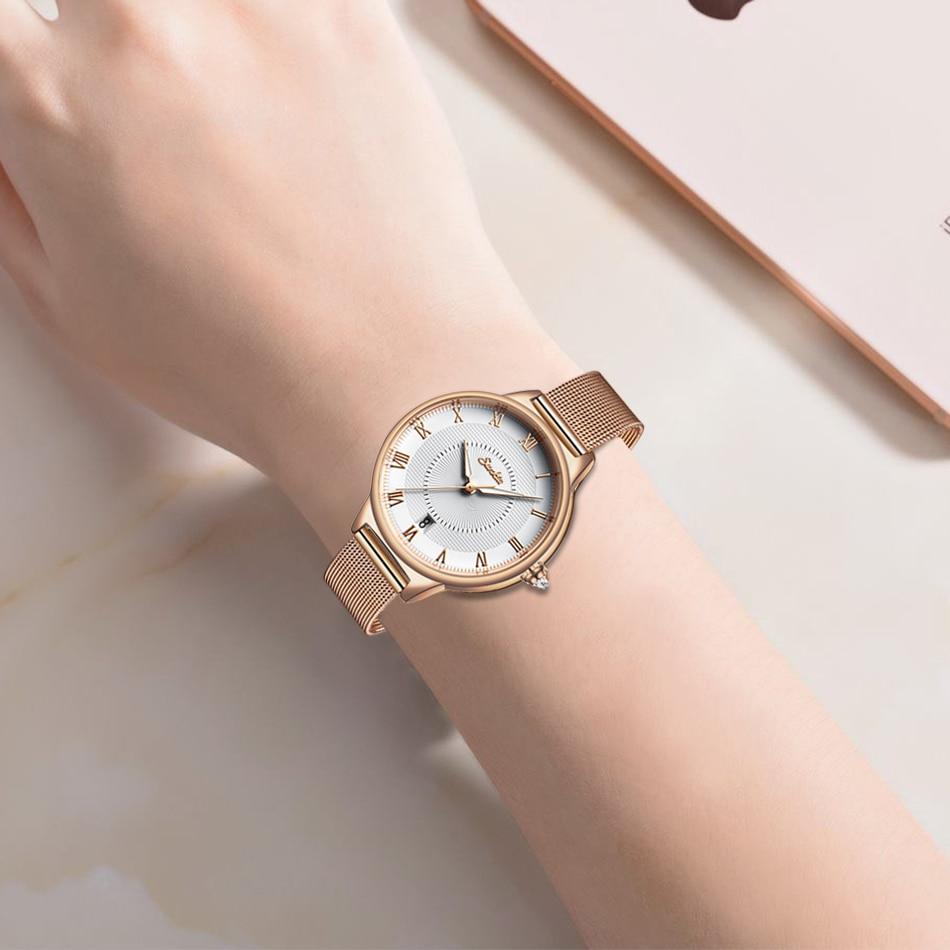 2021 Unique Women Round Watch Rose Gold Lady Elegant Wristwatch SUNKTA Brand Minimalism Casual Dress Watch for Female Gift Clock enlarge