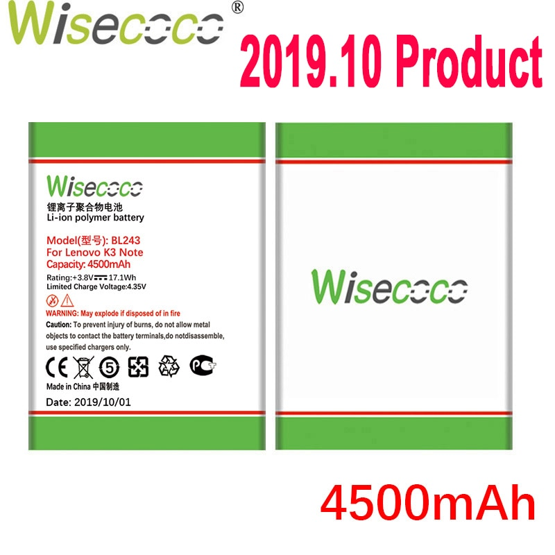 WISECOCO 4500 мАч BL243 батарея для Lenovo K3 Note K50-T5 K50-T3S A7000 A5500 A5860 A5600 A7600 мобильный телефон + номер отслеживания