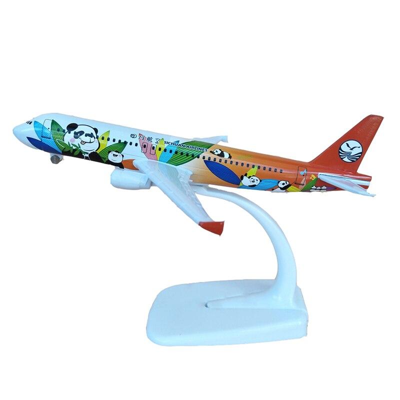 16CM 1 400 China Sichuan Airlines Panda Airbus A320 avión modelo de Metal avión modelo avión juguetes con rueda regalo de colección