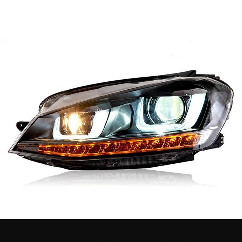 مجموعة مصابيح أمامية لشركة فولكس فاجن جولف 7 LED المصباح 2014-2016 VW Golf7 Mk7 LED العمل رئيس مصباح عدسة إسقاط ثنائية الزينون الخفيفة
