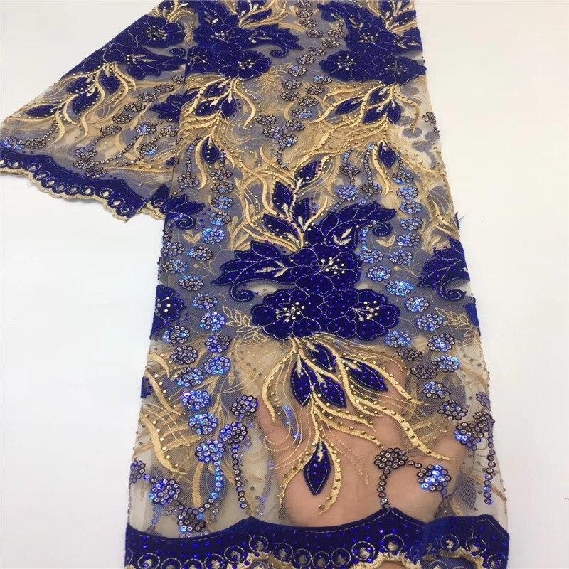 Tela de encaje de terciopelo para boda con lentejuelas encaje bordado para Material de encaje africano