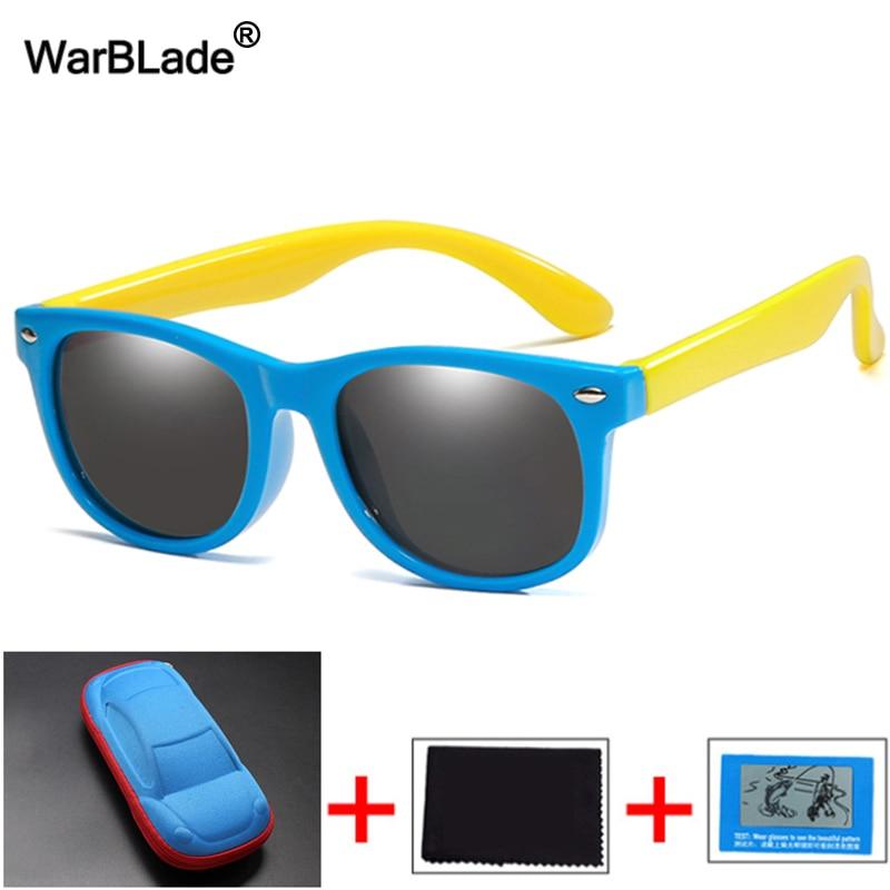 WarBlade Polarized Kids Sunglasses Silicone Flexible Children Sun Glasses UV400 Fashion Boy Girls Baby Shades Eyewear with Boxes