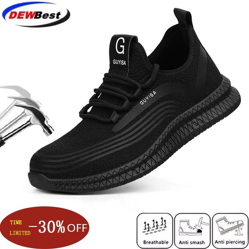 Sapatos masculinos de proteção de aço, botas masculinas com bico antiesmagamento, sapatos de segurança do trabalho, à prova de punção, quatro estações, 2020-deslizamento