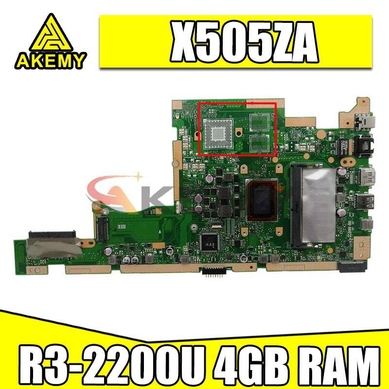 Akemy X505ZA الأصلي اللوحة الرئيسية ل Asus X505Z A505Z K505Z X505ZA اللوحة الأم للكمبيوتر المحمول اللوحة الأم مع R3-2200U 4GB RAM اختبار ok
