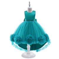 girls dresses 2021 girls green high low tutu fashion sleeveless dresses elegant dress vestidos childrens summer tulle dress