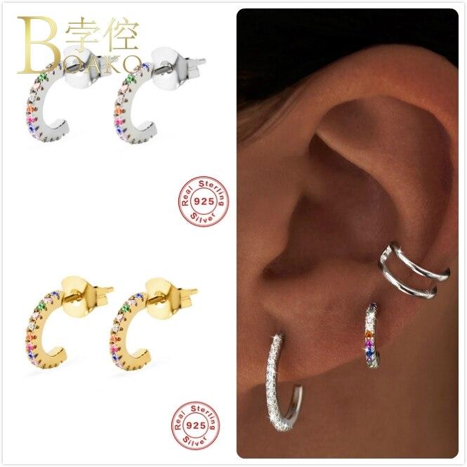 Real 925 brincos de prata para as mulheres ouro arco-íris zircão brincos menina orelha piercing brinco feminino colorido geométrico aretes