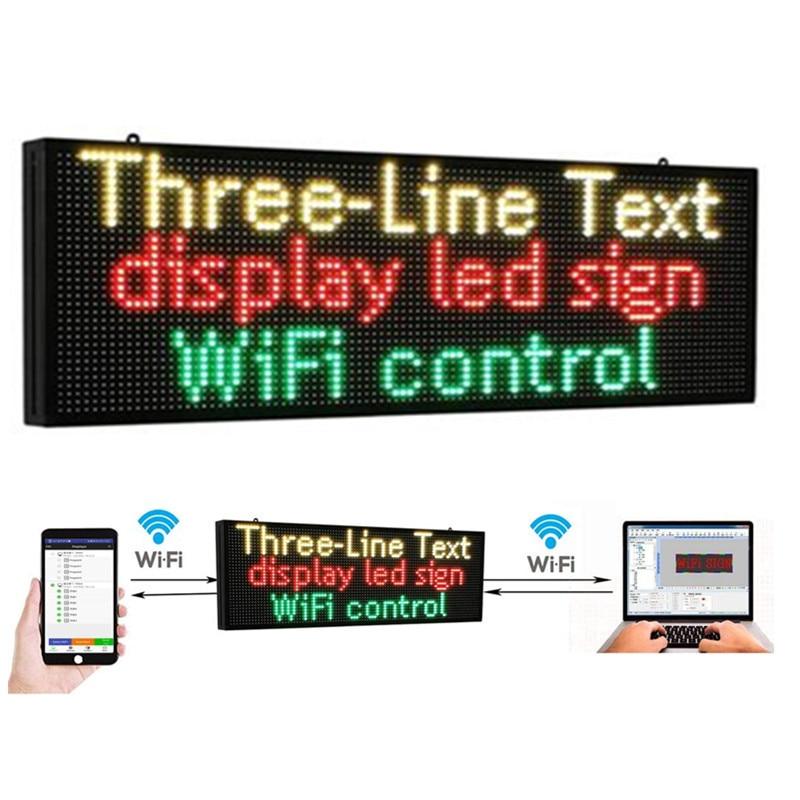PH10mm WiFi знак 52x14 дюймов наружный СВЕТОДИОДНЫЙ знак прокрутка доска объявлений RGB Полноцветный дисплей с технологией SMD для Ad