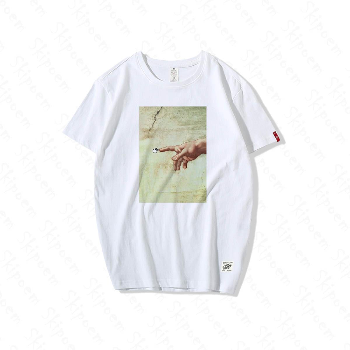 Arte y camiseta Digital hombres divertido y nuevo Casual Hip Hop Vintage Harajuku moda 100% algodón manga corta verano Tops Streetwear