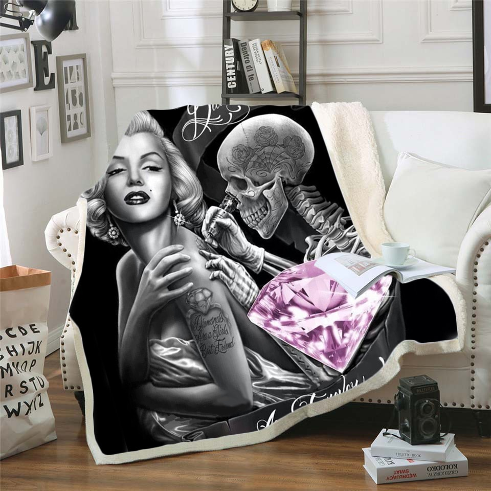 MarilynMonroe 3d المطبوعة الصوف بطانية ل سرير المشي نزهة سميكة لحاف المألوف المفرش شيربا رمي بطانية نمط-3