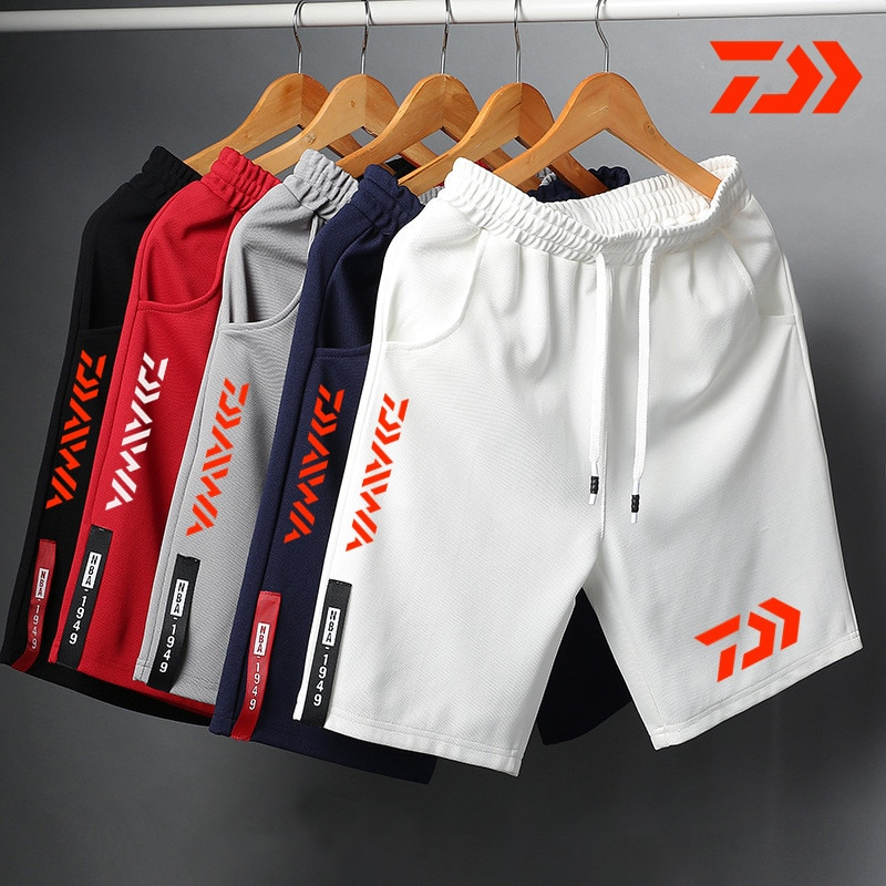 Daiwa Breathable Fishing Shorts for Men Multi-pocket Quick Dry Fishing Clothes Long Shorts Fishing Pants Elastic Waist Summer