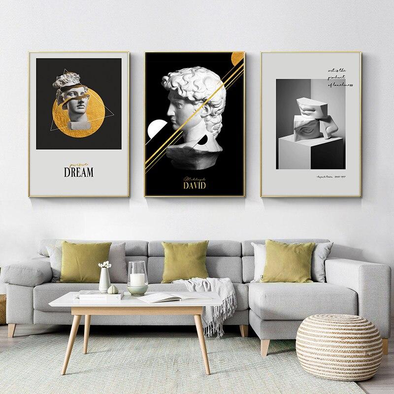 Kreative Porträt Kunst Leinwand Gemälde Kleine Engel Statue und Abstrakte Blume Kunst Drucke Auf Die Wand Bilder Kids Room Decor