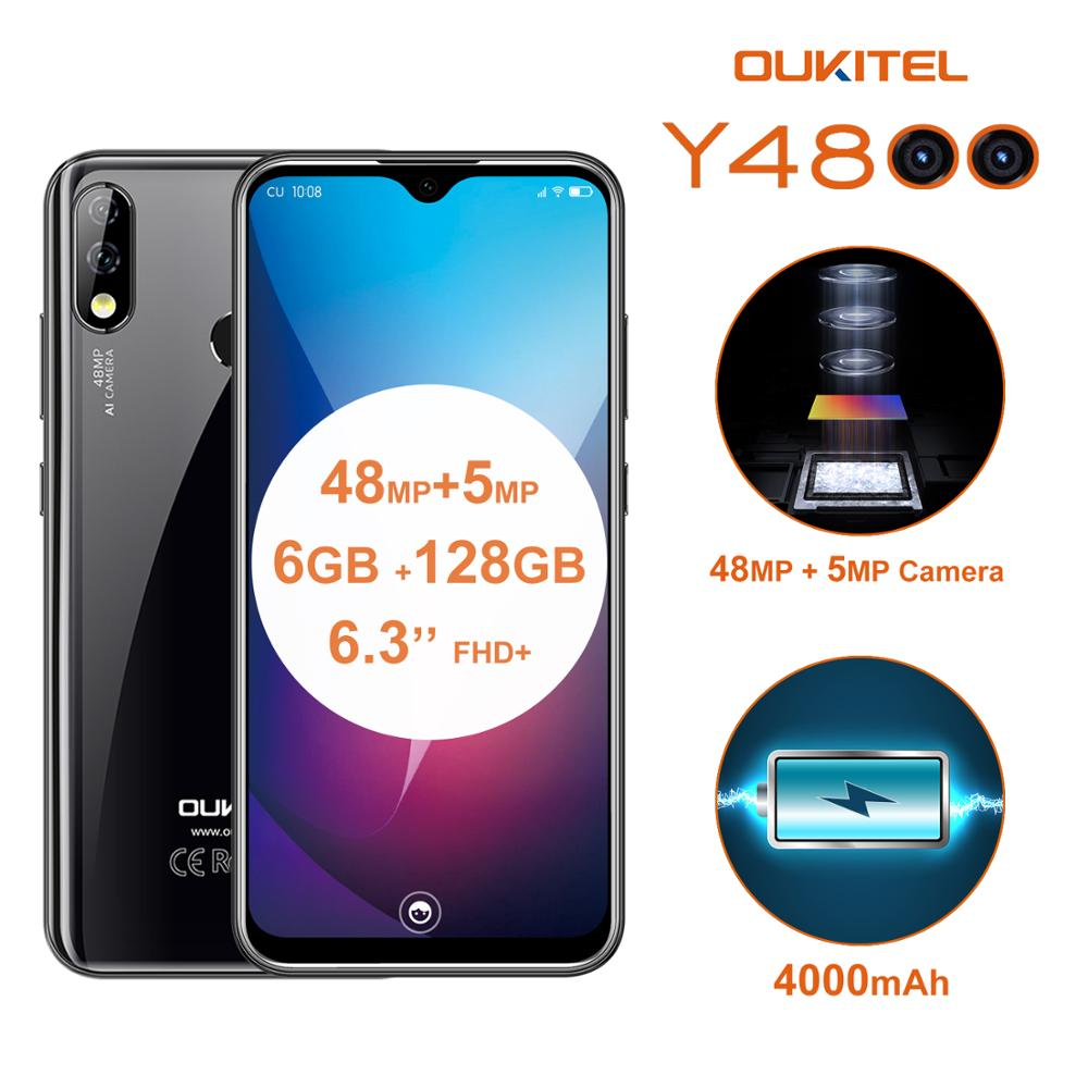 OUKITEL Y4800 6.3 Inch 4G LTE Cellphone Octa Core MTK P70 6GB 128GB ROM Android 9.0 Smartphone 4000mAh OTG Face ID Mobile Phone