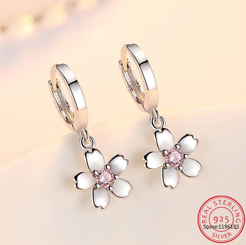 Модный-Детский-Комплект-925-серебро-розовый-циркония-милые-серьги-кольца-цветок-Девушки-красивое-женское-кольцо-с-huggies-Серьги-ювелирное-изд
