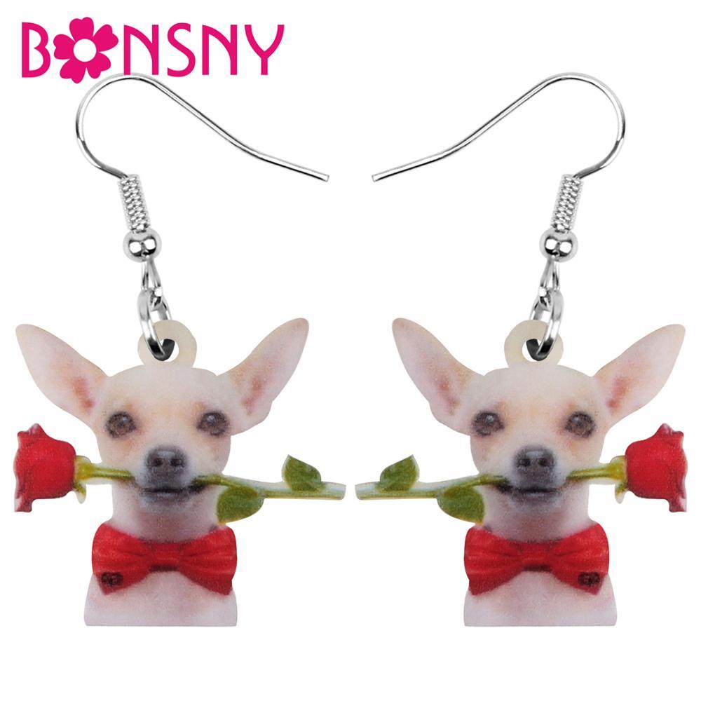 Bonsny de acrílico Día de San Valentín moño de rosas-Nudo Chihuahua perro pendientes gota colgante joyería para mujer chica adolescente encanto regalo accesorio