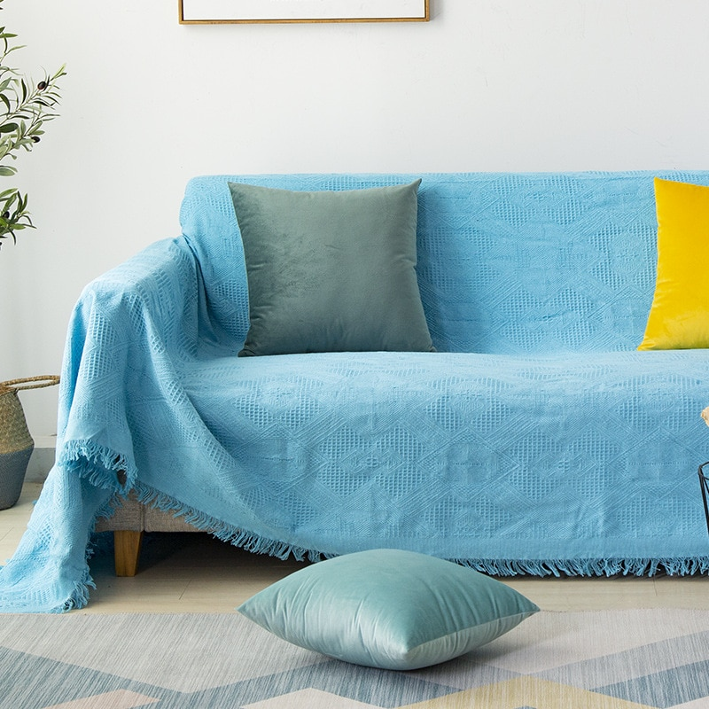 Decorative Nordic Solid-Color Fresh Pastoral Style Reversible Sofa Towel Cover Full-Cover Dust cover Tapestry Throw Blankets