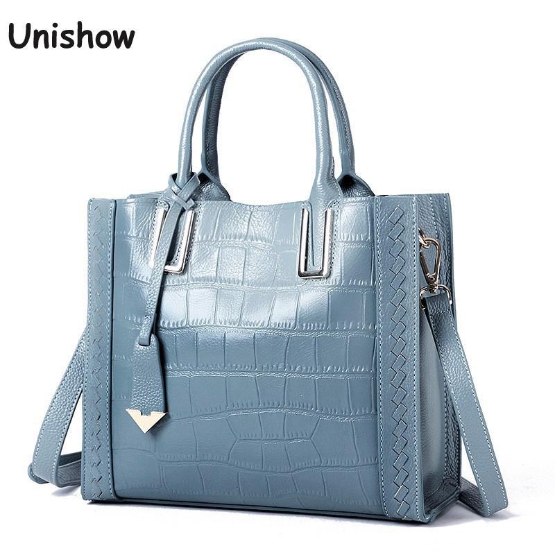 Bolsa de ombro feminina, estampa de pedra, couro genuíno, bolsa de mão de luxo 2020